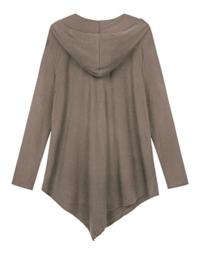 Urbancoco Damen Lose Zip Hooded Sweatshirt Jacke Handchief Saum cafe milk