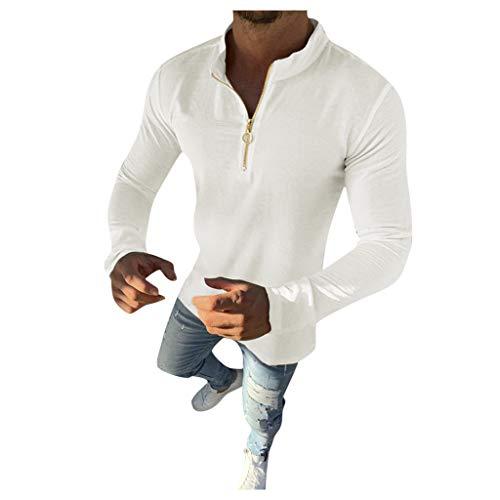 Xmiral Sweatshirt Herren Einfarbig Langarm Reißverschluss Slim Fit Shirt Hemd Herbst Winter Sweatshirt Pullover Jumper Streetwear Sportbekleidung(Weiß,L)