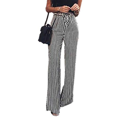 Crepe Belted (LnLyin Frauen Striped Belted Crepe Casual Beinhosen Hosen Hohe Taille Casual Sommer Herbst Hosen mit Gürtel, L)