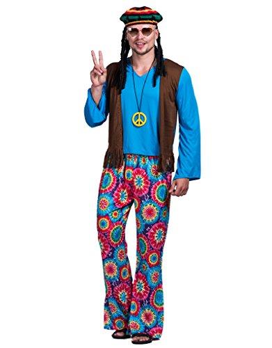 EraSpooky Herren Hippie Liebe Frieden Kostüm (Hippie Kostüm Männlich)