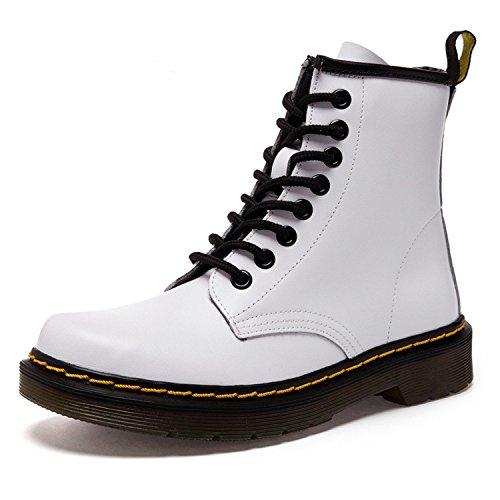 Damen Martin Stiefel Derby Wasserdicht Kurz Stiefeletten Winter Herren Worker Boots Profilsohle Schnürschuhe Schlupfstiefel,Warm gefüttert/Weiß 43 EU