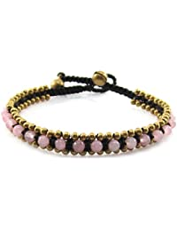 MGD, Pink Rose Quartz Color Bead and Brass Fish Anklet, Handmade Fashion Jewelry For Women, Teens and Girls, JB-0170A