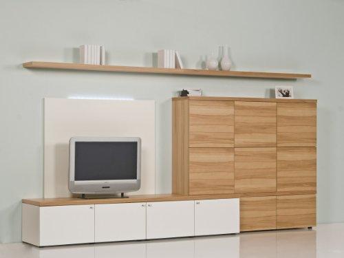 Brinkmann - Luxus Wohnwand - Kernbuche Echtholz Furnier - Weiß Hochglanz