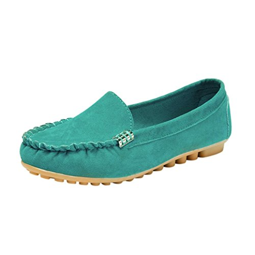 OverDose Chaussures Plats Daim, Femme Mocassins Pointure Large Ballerines Casual Soft Slip-on Shoes (39, Mint)