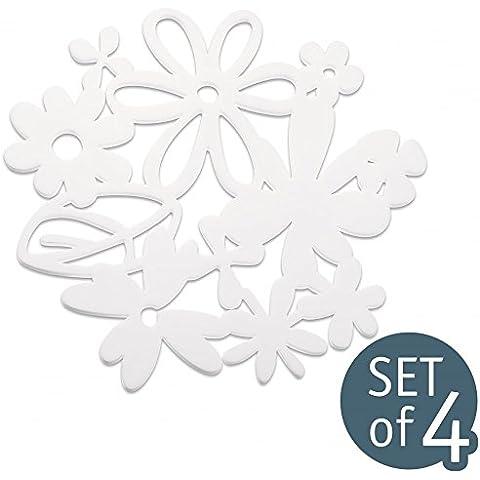 Koziol Alice Sottopentola, Sotto, Set da 4, per la Tavola, Bianco, Plastica, 3526525