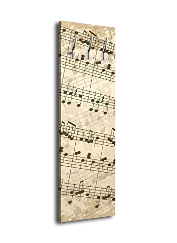 Garderobe-mit-Design-Musiknoten-G119-40x125cm-Noten-Musik-Wandgarderobe-Pachelbel
