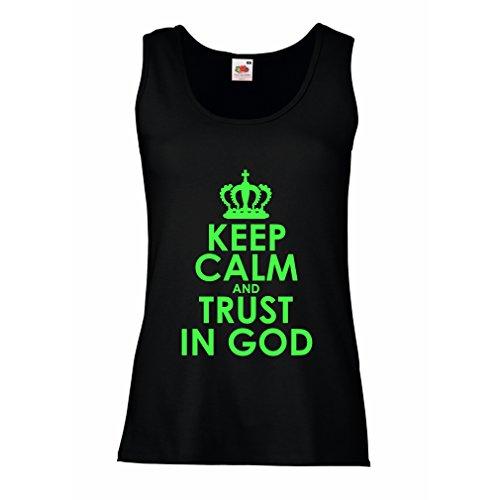 Damen Tank-Top Vertraue Gott! Jesus Christus liebt Dich - Ostern - Auferstehung - Geburt Christi, Christliche Kleidung (Large Schwarz Grün)