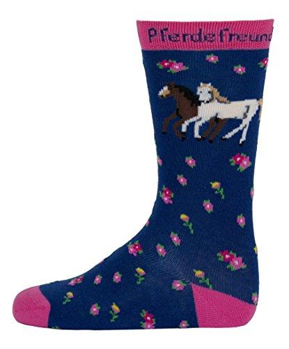 Pferdefreunde Kinder KnieStrümpfe blau Mädchen kniehohe Socken mit Pferde-Motiv, jeansblau KnieSöckchen Größe 23-34 , K/Sox:27 / 30 (Braune Kniestrümpfe)