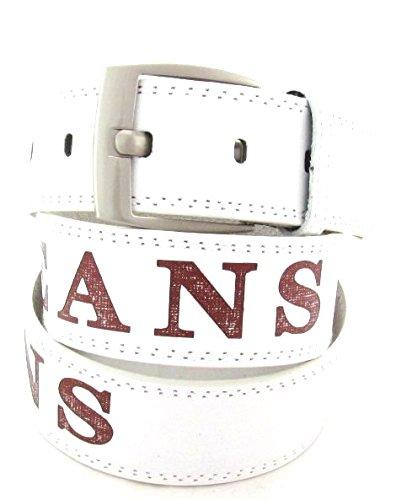 Gürtel Jeans Classic Aufschrift in mehreren Farben 3,7 cm Breit (125 cm, weiss)