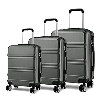 Kono Juego Set 3 Maletas Trolley Rígida ABS Equipajes de Viaje (55cm,66cm,74cm)
