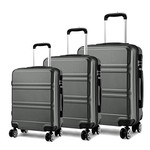 Kofferset 3tlg. Hartschalenkofferset 4 Rollen Hard Shell Trolley Koffer Reisekoffer ABS (grau Set)