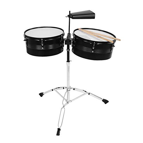 Timbales, Edelstahl Percussion Instrument Timbale Drum Set mit Cowbell, Drum Stick, Stativ, Support Frame.