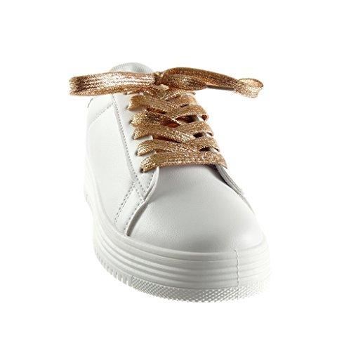 Angkorly Scarpe Moda Sneaker Tennis zeppe low donna pelle di serpente paillette lucide Tacco zeppa piattaforma 3.5 CM Champagne