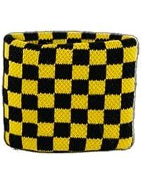 Digni® Poignet éponge avec drapeau Damier Noir-Jaune, pack de 2