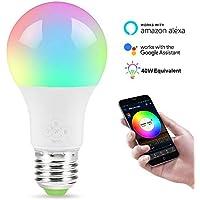 WiFi intelligente lampadina, dimmerabile, multicolor, sveglia luci, non richiede Hub, compatibile con Google e ALEXA assistente,E27