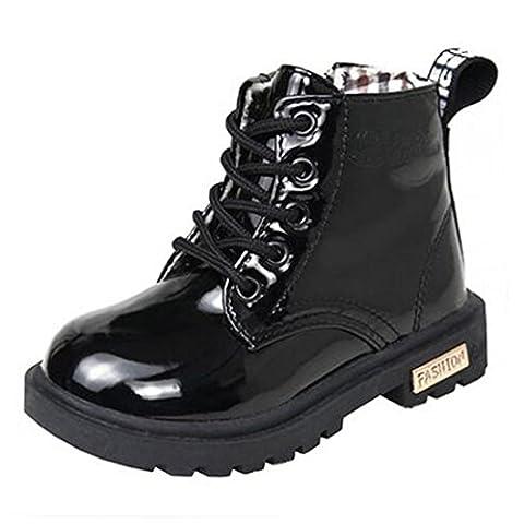 Bottes et Bottines pour Fille Enfant Lacets Eau Preuve 1-12 Années (Tailles 26=Longueur des pieds:14cm, noir:non coton)