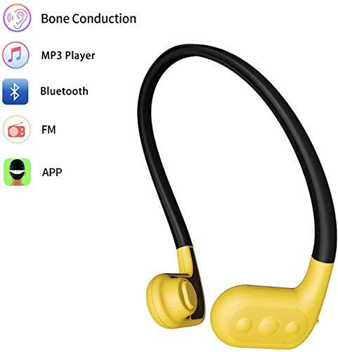 Tayogo Cuffie Conduzione Ossea Impermeabile, Mp3 Subacqueo Bluetooth 4.2, Auricolari Conduzione ossea Senza Fili Cuffie Sport Orecchio Aperto per Ciclismo in Esecuzione Palestra
