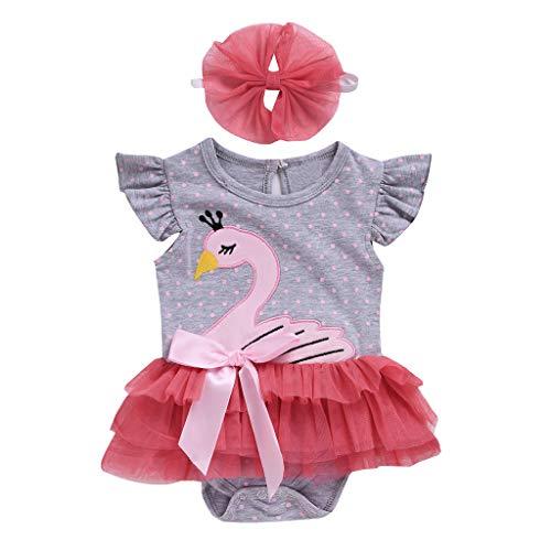 Lenfesh Säugling Baby Mädchen Sleeveless Cartoon Swan Print Jumpsuit Strampler + Stirnbänder Kleidung Set Mädchen Kostüm