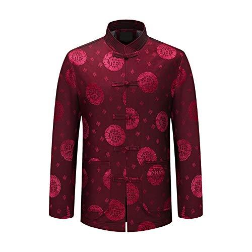 Xinvivion Herren Tang Anzug, Chinesisch Traditionell Stehkragen Langarm Tai Chi Shirt Kampfkunst Kung Fu Hemd Jacke Tops Kung Fu Shirt Hose