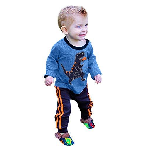 Kinderbekleidung,Rosennie Neugeborenen Baby Jungen Mädchen Cartoon Dinosaurier Print Tops + Hosen Kleidung Outfits Set Herbst Winter Warm Pullover Sweatshirts Hemd Oberteile Hosen(Blau,80)