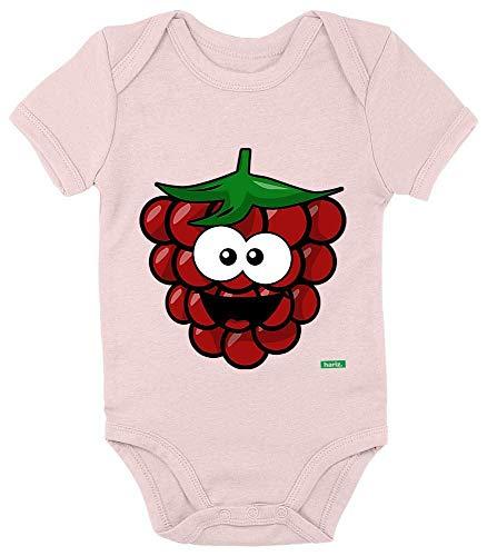 Mädchen Himbeer Kostüm - HARIZ Baby Body Kurzarm Himbeere Lachend Frucht Süß Inkl. Geschenk Karte Zuckerwatte Rosa 0-3 Monate