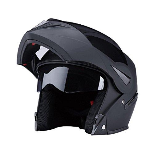 Gj casco moto casco integrale da uomo locomotiva da donna caschi universali a copertura integrale casco termico a quattro stagioni (colore : matte black (tea mirror))
