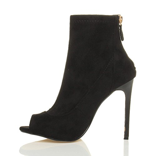 Femmes haut talon aiguille bout ouvert branché bottines bottes sandale pointure Noir