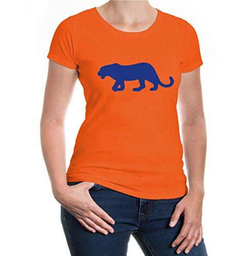 buXsbaum® Girlie T-Shirt Großkatze-Tier-Silhouette V2 Orange-Royal