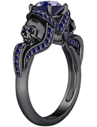 Silvernshine 1.52Ct BlueShapphire CZ Engagement & Wedding Two Skull Design Ring 14K Black Gold PL
