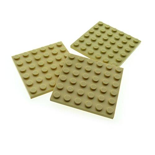 3 x Lego System Bau Platte 6x6 beige tan 6 x 6 für Set Star Wars 41068 7047 79107 10181 21305 75084 21121 7191 3958