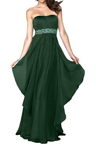 Milano Bride Charment Traegerlos Lang Chiffon Abendkleider Promkleider Ballkleider mit Steine Bodenlang Dunkelgruen