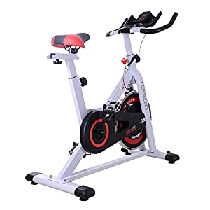 41kYVKCNqaL. SS300  - HOMCOM 8kg Spinning Flywheel Exercise Bike Aerobic Training Indoor Cycling Stationary Cardio Workout Home Fitness Racing Machine