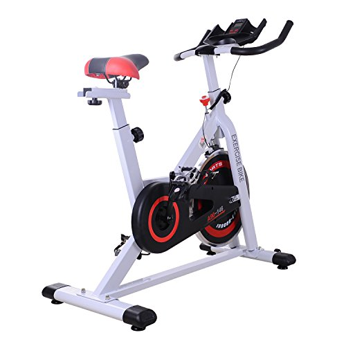 Homcom 8kg Spinning Schwungrad Heimtrainer Aerobic-Training Innen Stationäre Cardio Workout Home Fitness Racing Maschine (Schwungrad Heimtrainer)