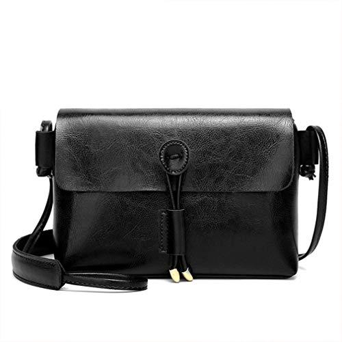 Tan Leder Damen Mini (Frauen Small Square Leder-Handtaschen Mini-Leder-Retro- kleine bagof Schulter Messenger Bag Handytasche (schwarz))