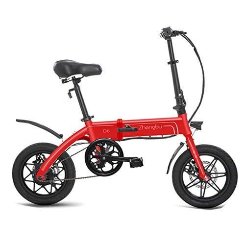 Bici elettriche Biciclette Elettriche Pieghevoli per Uomini E Donne Mini Batteria Auto al Litio, Auto Elettrica, Vita Elettrica 60 Km (Color : Red, Size : 125 * 52 * 100cm)