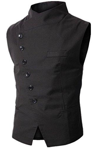 r. L:Brust 94 cm, schwarz (Gilet De Costume Noir Homme)