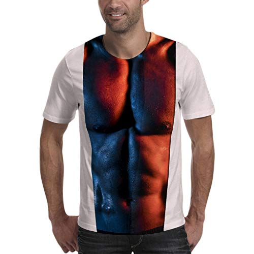 (Xmiral Kurzarm T-Shirt Herren 3D Muskel Drucken Patchwork Polyester O-Ansatz Oberteile Sport Beiläufig Slim Fit Plus Size Bluse(S,Weiß))