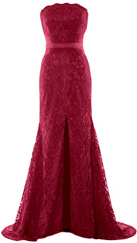 MACloth Women Mermaid Strapless Evening Gown Wedding Party Formal Prom Dress Wine Red