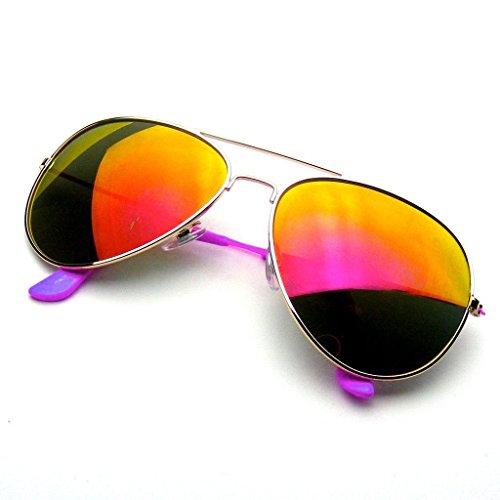 Aviator Sonnenbrillen Vintage Spiegel Objektiv neue Männer Frauen Mode Rahmen Retro-Pilot (Bunte Arm | Lila)