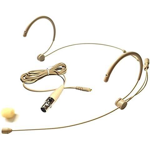 Microdot 4016Auriculares Micrófono inalámbrico de cabeza para Shure sistema inalámbrico–Cable con conector mini XLR TA4F desmontable–Omidirectional