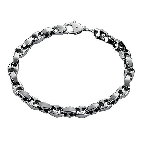 Aooaz Mode Herren Armbänder Edelstahl Armreifen Buchstabe H Silber Armband,Länge 20.3CM (Gothic Skull Armband Und Nägel)