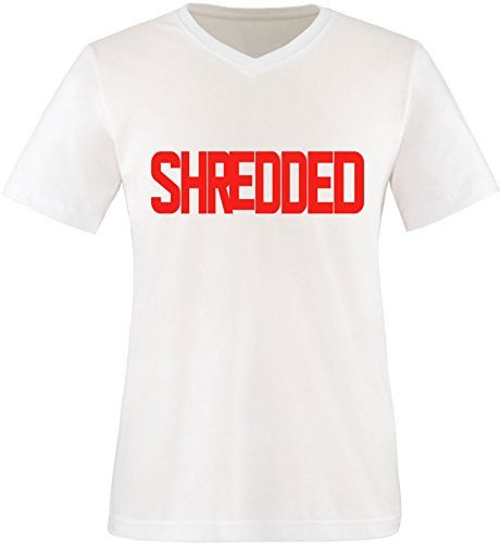 EZYshirt® Shredded Herren V-Neck T-Shirt Weiß/Rot