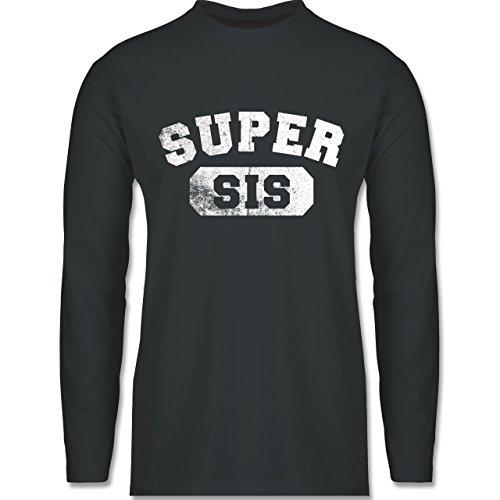 Shirtracer Statement Shirts - Super Sis - Vintage-&Collegestil - Herren Langarmshirt Dunkelgrau