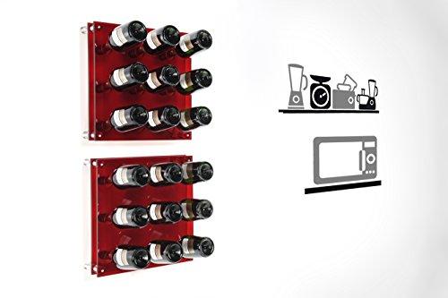 Iplex-Design-Divino-Big-Portabottiglie-da-Parete-PlexiglassPMMA-Rosso-Trasparente