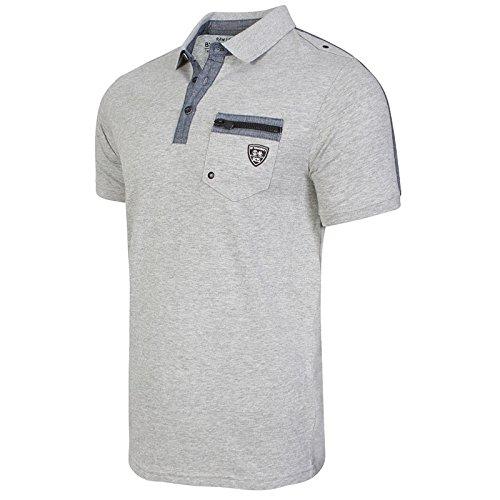 Herren Rawcraft Fergal Designer Polohemd Reißverschluss Tasche Baumwoll Piqué T-shirt Top Grau Meliert
