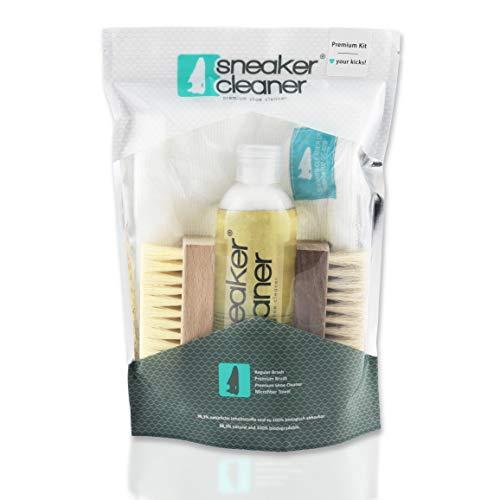 Sneaker Cleaner - Reinigungsset für Schuhe, 250ml Reiniger inkl. 2 Bürsten für empfindliche und unempfindliche Materialien + 1 Microfasertuch