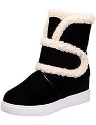 Minetom Mujer Calentar Otoño Invierno Cómodo Botines Botas De Nieve Velcro Zapatos Punta Redonda