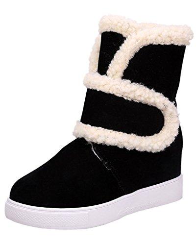 Minetom Femme Hiver Neige Cheville Boots Chaudes Fourrure Antidérapage Chaussures Velcro Fermé
