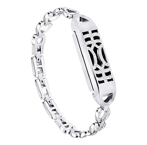 Cinturino alla moda, Scpink Braccialetto in cristallo regolabile regolabile con interruttore ad adsorbimento in metallo con braccialetto di diamanti per Fitbit Flex 2 Fitness Watch (Piccolo, Argento)