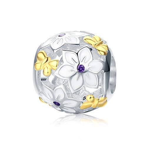 """DALARAN Bead Charms 925 Sterling Silber Schöne Charms Bead Charms Gut für Armband Halsketten, Geschenke für Frauen""""MEHRWEG"""" (Weiße Magnolia Blume)"""
